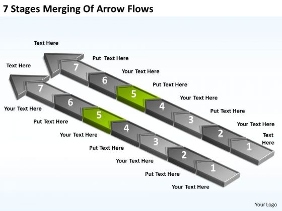 7 Stages Merging Of Arrow Flows Business Plan Company PowerPoint Slides