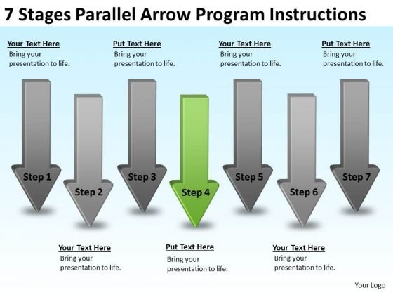 7 Stages Parallel Arrow Program Instructions Starting Business PowerPoint Slides