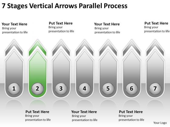 7 Stages Vertical Arrows Parallel Process Online Business Plan PowerPoint Templates