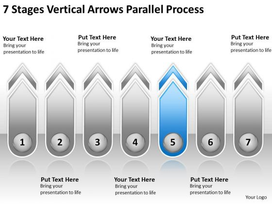 7 Stages Vertical Arrows Parallel Process Service Business Plan PowerPoint Templates