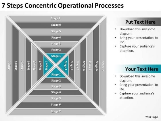 7 Steps Concentric Operational Processes Business Plans For Dummies PowerPoint Templates