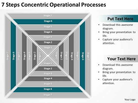 7 Steps Concentric Operational Processes Ppt Business Plan Template PowerPoint Slides