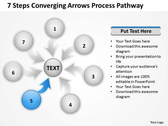 7 Steps Coverging Arrows Process Pathway Ppt Circular Flow Network PowerPoint Template