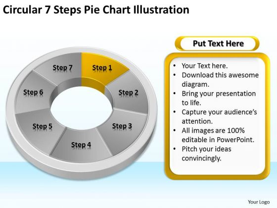 7 Steps Pie Chart Illustration Example Of Business Plan Outline PowerPoint Templates
