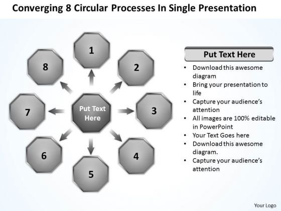 8 Circular Processes In Single Presentation Flow Diagram PowerPoint Slides