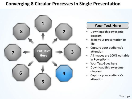8 Circular Processes In Single Presentation Network PowerPoint Templates