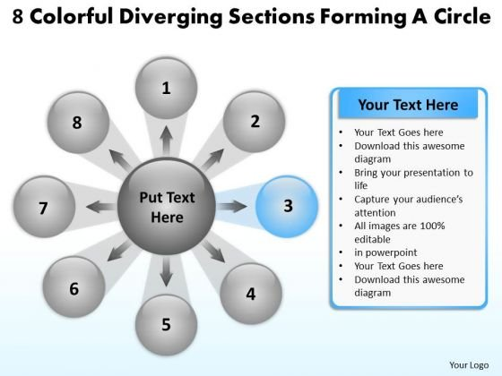 8 Colorful Diverging Sections Forming A Circle Circular Flow Process Chart PowerPoint Slides
