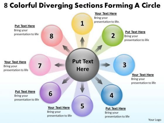 8 Colorful Diverging Sections Forming A Circle Circular Layout Network PowerPoint Slides
