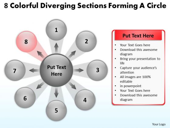 8 Colorful Diverging Sections Forming A Circle Cycle Flow Chart PowerPoint Slides