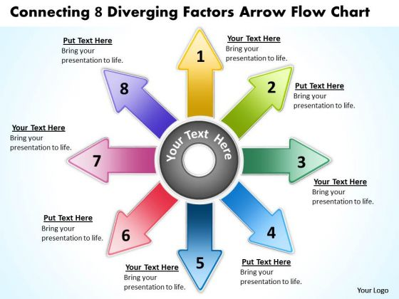 8 Diverging Factors Arrow Flow Chart Circular Process PowerPoint Slides