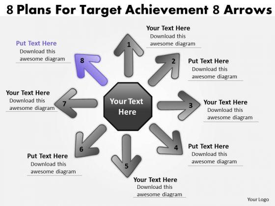 8 Plans For Target Achievement Arrows Circular Flow Layout Network PowerPoint Slides