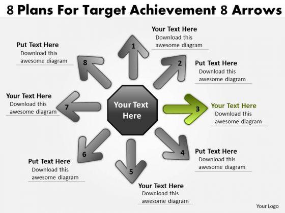 8 Plans For Target Achievement Arrows Cycle Process Network PowerPoint Templates