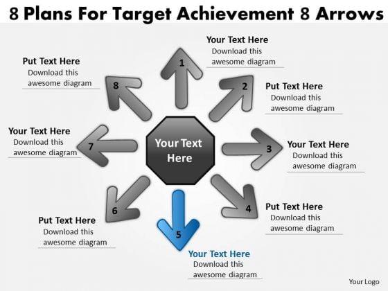 8 Plans For Target Achievement Arrows Cycle Process PowerPoint Slides