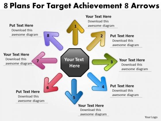 8 Plans For Target Achievement Arrows Cycle Process PowerPoint Templates