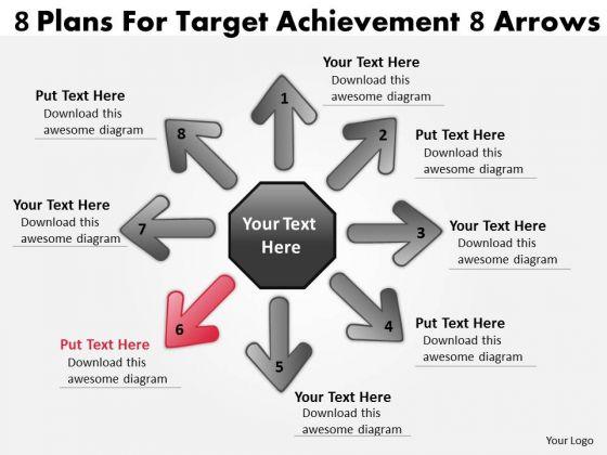 8 Plans For Target Achievement Arrows Cycle Spoke Chart PowerPoint Templates