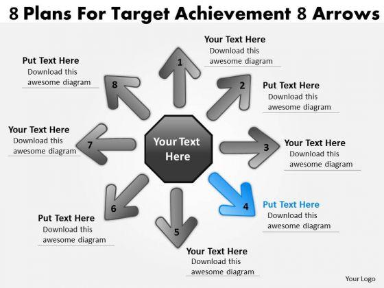 8 Plans For Target Achievement Arrows Cycle Spoke Process PowerPoint Templates