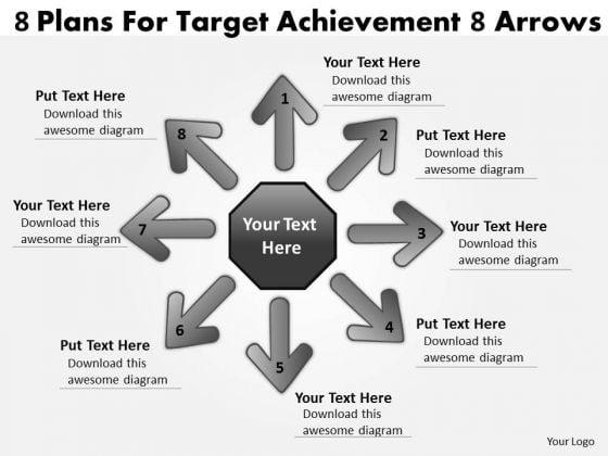 8 Plans For Target Achievement Arrows Venn Chart PowerPoint Slides