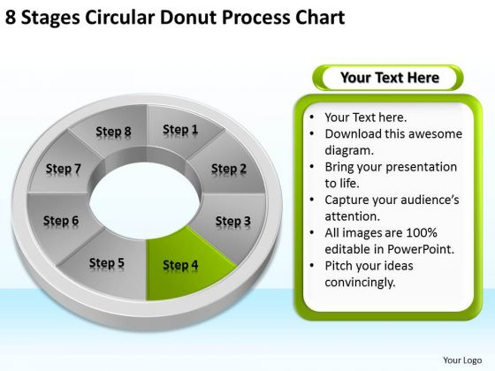 8 Stages Circular Donut Process Chart Business Plan Outline PowerPoint Templates