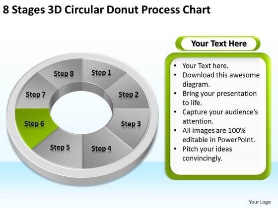 8 Stages Circular Donut Process Chart Business Plan Template PowerPoint Slides