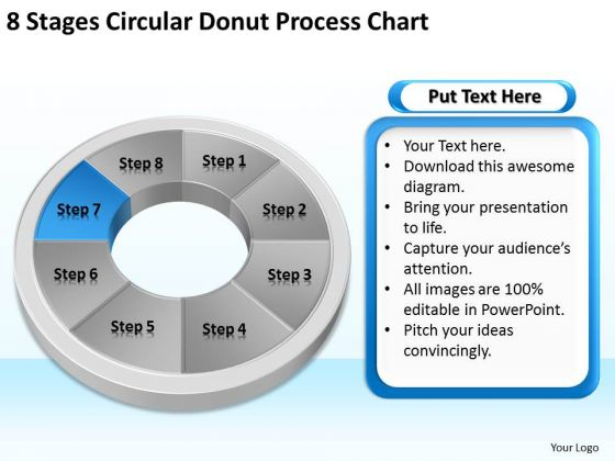8 Stages Circular Donut Process Chart Business Plans PowerPoint Templates