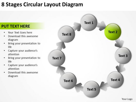 8 Stages Circular Layout Diagram Marketing Plan For Small Business PowerPoint Slides