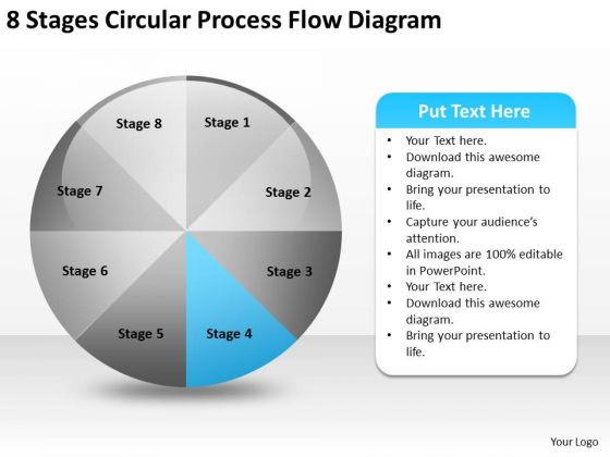 8 Stages Circular Process Flow Diagram Business Planning Consultants PowerPoint Slides