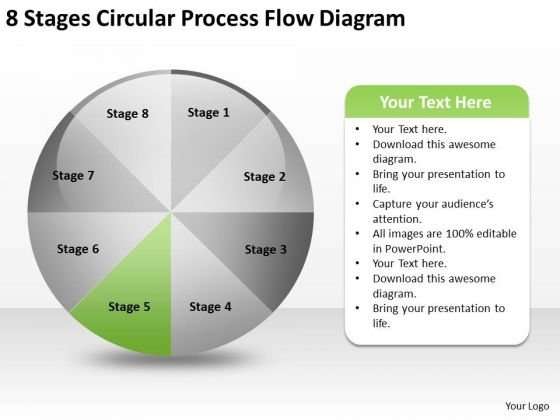 8 Stages Circular Process Flow Diagrams Business Plan Outline PowerPoint Slides