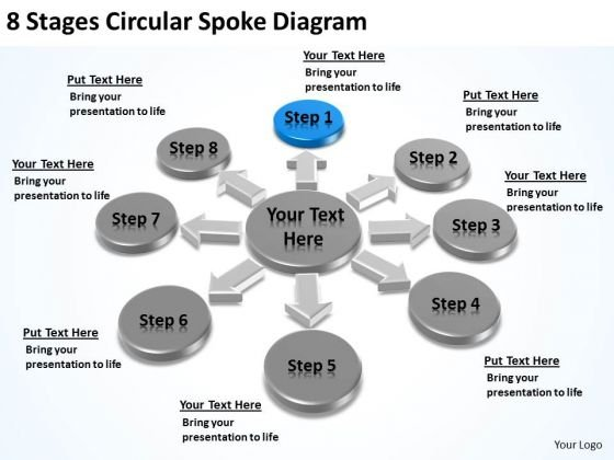 8 Stages Circular Spoke Diagram Business Plan Download PowerPoint Templates