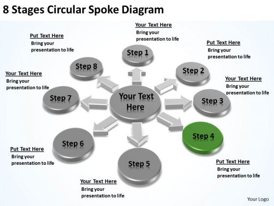 8 Stages Circular Spoke Diagram Business Plan PowerPoint Slides