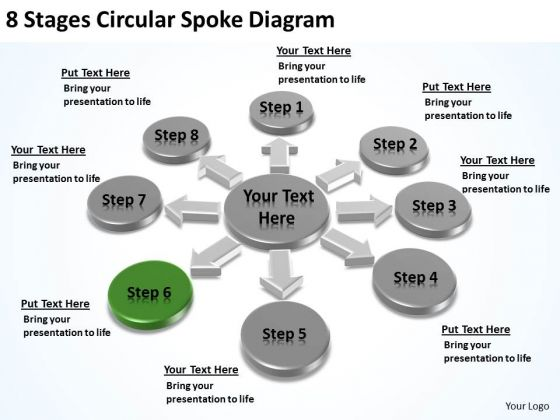 8 Stages Circular Spoke Diagram Cost Of Business Plan PowerPoint Slides