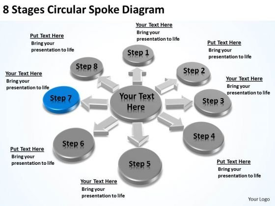 8 Stages Circular Spoke Diagram Ppt Business Plan PowerPoint Slides