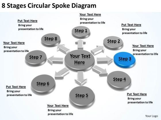 8 Stages Circular Spoke Diagram Small Business Plan Example PowerPoint Slides