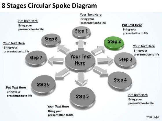 8 Stages Circular Spoke Diagram Small Business Plans Template PowerPoint Templates