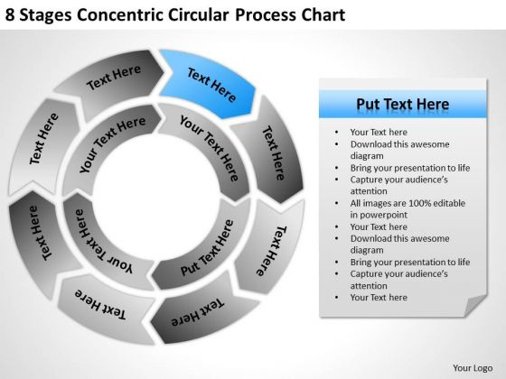 8 Stages Concentric Circular Process Chart Ppt Business Plan PowerPoint Slides