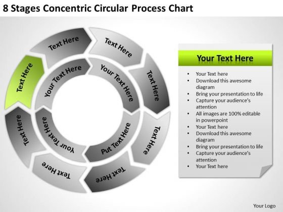8 Stages Concentric Circular Process Chart Ppt Business Proposal PowerPoint Slides