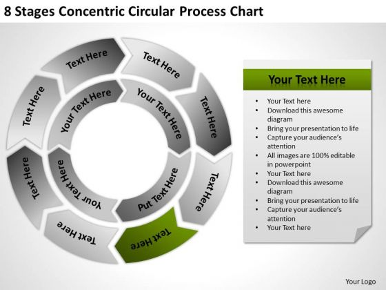8 Stages Concentric Circular Process Chart Ppt Linear Flow Rate PowerPoint Templates
