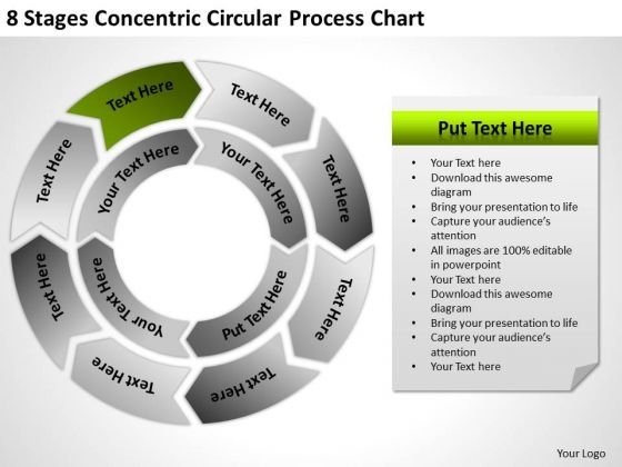 8 Stages Concentric Circular Process Chart Ppt Templates For Business Plans PowerPoint