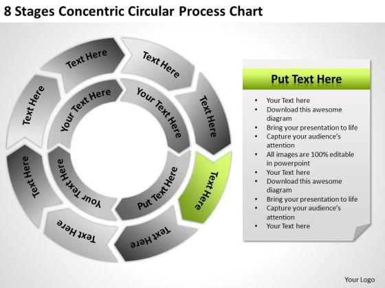 8 Stages Concentric Circular Process Chart Ppt What Business Plan Looks Like PowerPoint Slides