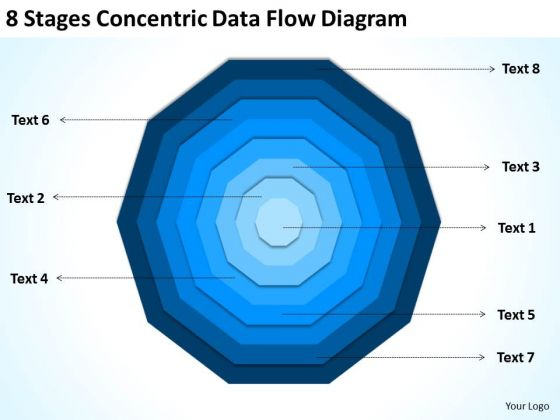 8 Stages Concentric Data Flow Diagram Marketing Business Plan Template PowerPoint Templates