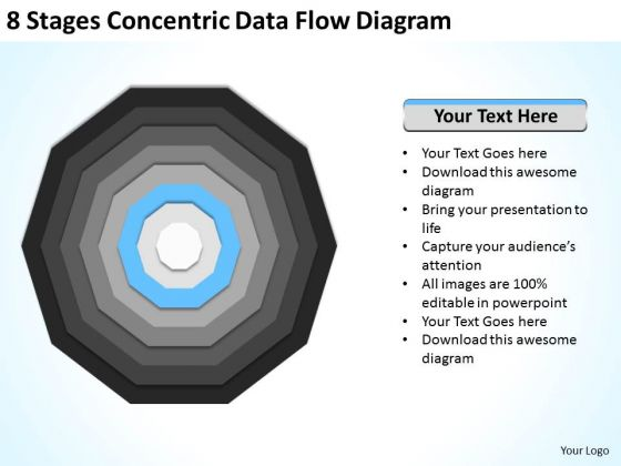 8 Stages Concentric Data Flow Diagram Online Business Plan PowerPoint Templates