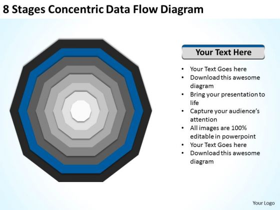 8 Stages Concentric Data Flow Diagram Ppt Business Plan PowerPoint Slides