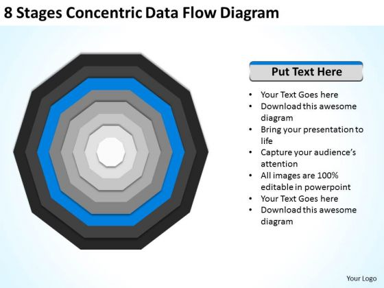 8 Stages Concentric Data Flow Diagram Ppt Business Plan PowerPoint Templates