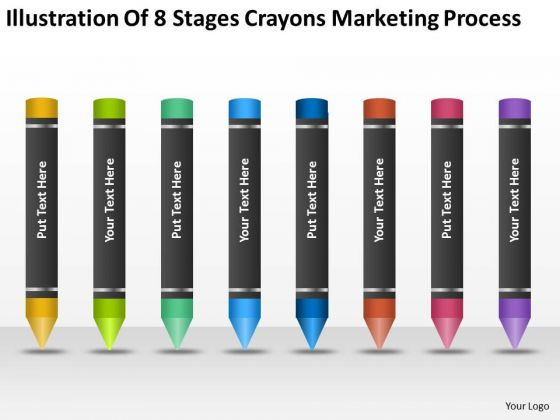 8 Stages Crayons Marketing Process Ppt Doing Business Plan PowerPoint Templates