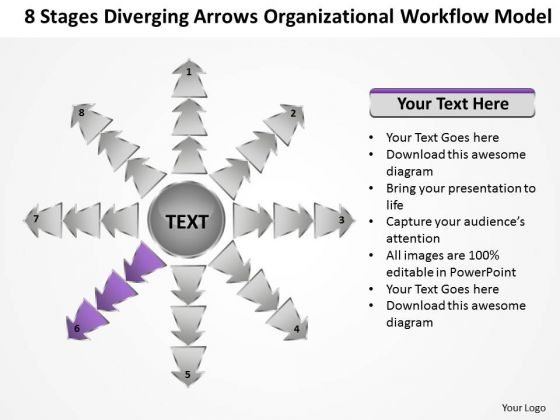 8 Stages Diverging Arrows Organizational Workflow Model Charts And PowerPoint Slide