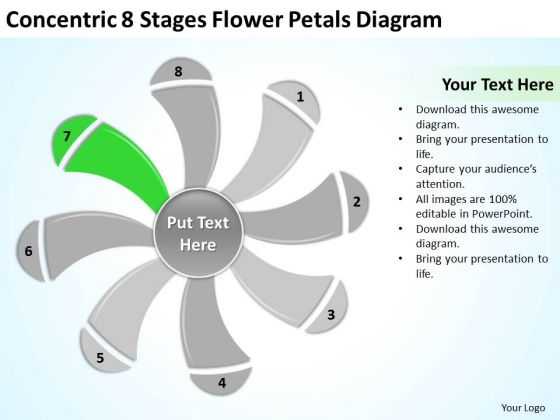 8 Stages Flower Petals Diagram Ppt Business Plan Template PowerPoint Templates