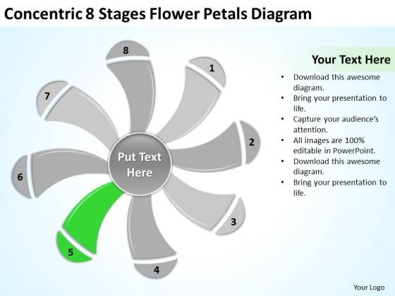 Stages Flower Petals Diagram Ppt Real Estate Business Plan - Realtor business plan template