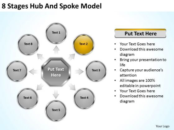 8 Stages Hub And Spoke Model Executive Summary Business Plan PowerPoint Templates