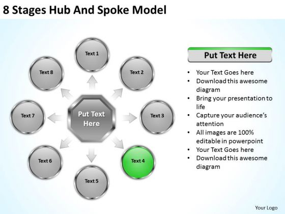 8 Stages Hub And Spoke Model How To Structure Business Plan PowerPoint Slides