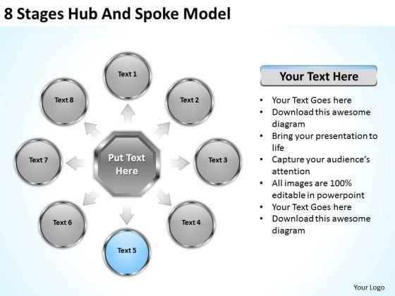 8 Stages Hub And Spoke Model Successful Business Plan Examples PowerPoint Templates
