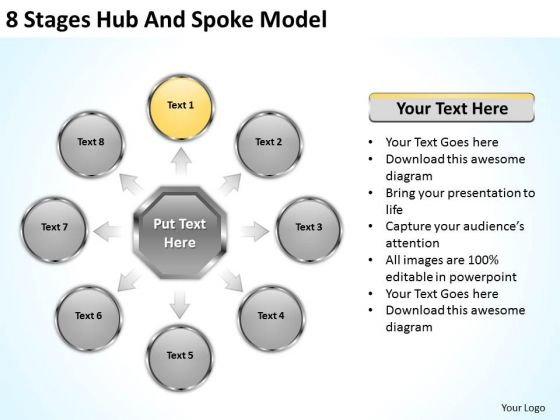 8 Stages Hub And Spoke Model Successful Business Plan PowerPoint Slides